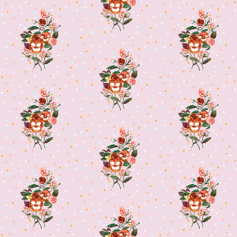 Pansy Posy Orange Pink and Dots fabric by thistleandfox on Spoonflower - custom fabric