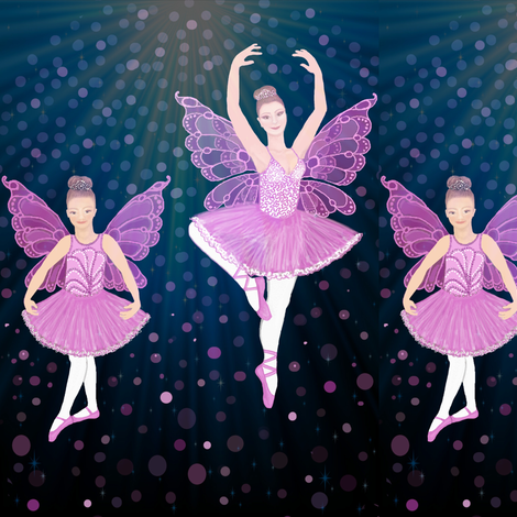 Ballet Dance Lessons / Ballerina Butterfly // dancing // dancers // by Magenta Rose Designs fabric by magentarosedesigns on Spoonflower - custom fabric