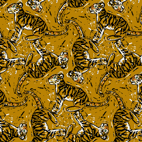 Wood Cut Tiger fabric by eclectic_house on Spoonflower - custom fabric