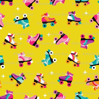 Fun colorful retro roller skates disco fun vivid illustration print