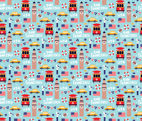 San Francisco usa travel icons colorful icons and illustration pattern fabric by littlesmilemakers on Spoonflower - custom fabric
