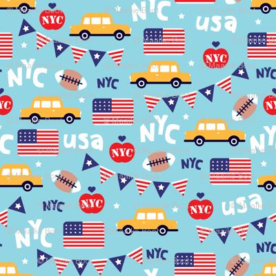 Cute new york city yellow cab american icons travel illustration pattern