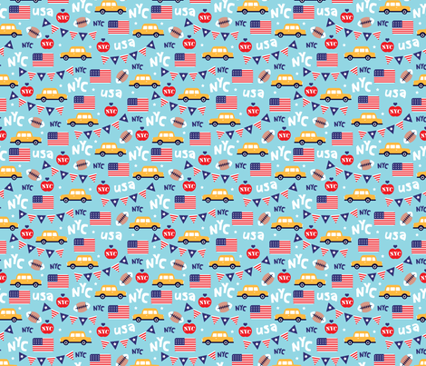 Cute new york city yellow cab american icons travel illustration pattern fabric by littlesmilemakers on Spoonflower - custom fabric