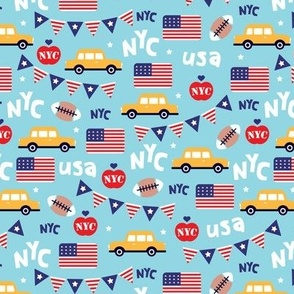 Cute new york city yellow cab american icons travel illustration pattern
