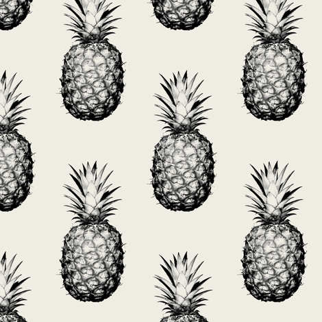 Pineapples Black and Cream Small fabric by thecumulusfactory on Spoonflower - custom fabric