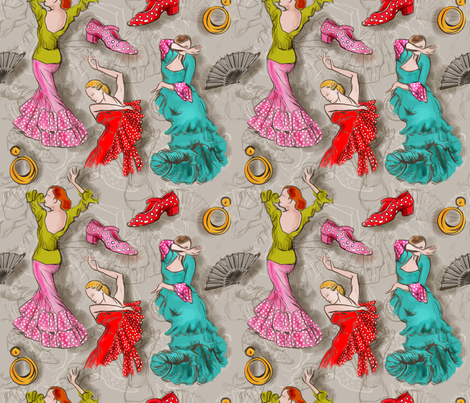 Flamenco Ballet fabric by leventetladiscorde on Spoonflower - custom fabric