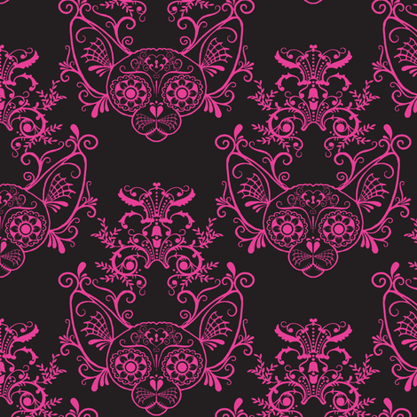 Black with Fucshia Damask Sugar Skull Sphynx Cats-ch fabric by glamourpuss on Spoonflower - custom fabric