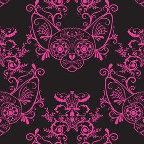 Black with Fucshia Damask Sugar Skull Sphynx Cats-ch