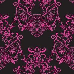 Black with Fucshia Damask Sugar Skull Sphynx Cats-ch