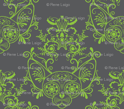 Grey with Lime Green Damask Sugar Skull Sphynx Cats