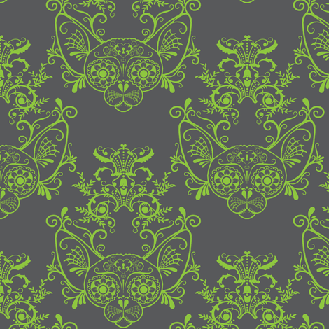 Grey with Lime Green Damask Sugar Skull Sphynx Cats fabric by glamourpuss on Spoonflower - custom fabric