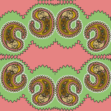 Paisley Pussycats 1 fabric by eclectic_house on Spoonflower - custom fabric