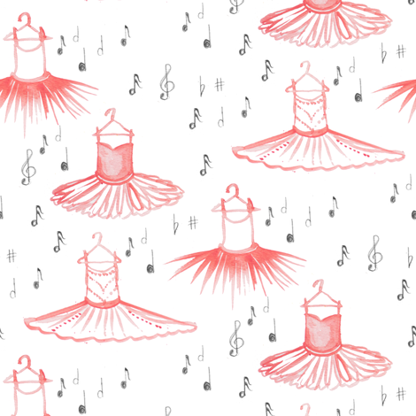 Ballet in Notes of Pink fabric by emilysanford on Spoonflower - custom fabric