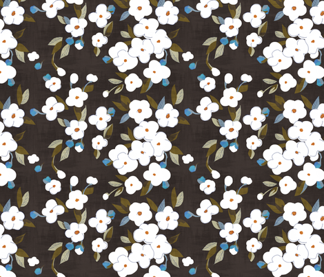 white flowers on bitter chocolate fabric by glimmericks on Spoonflower - custom fabric