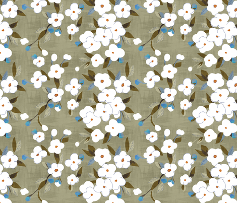 white flowers on gray fern fabric by glimmericks on Spoonflower - custom fabric