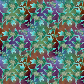 Blue-green Iris-Folded Oak Leaves on Rust and Purple Plasma