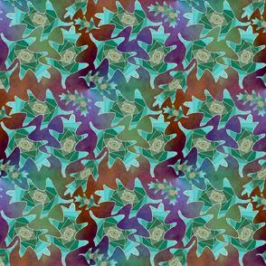 Blue-green Iris-Folded Oak Leaves on Rust and Purple Plasma