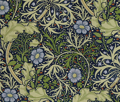 William morris seaweed fabric neilepi spoonflower for Patterned material for sale
