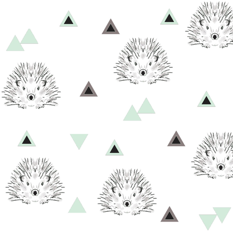 hedgehogs mint  fabric by miamea on Spoonflower - custom fabric