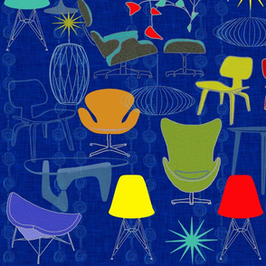 My Modern Family of Tables and Chairs 58 x 36 blue