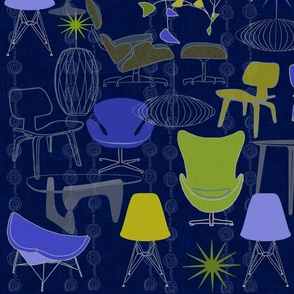Modern Family of Tables and Chairs blue tone 58 x 36