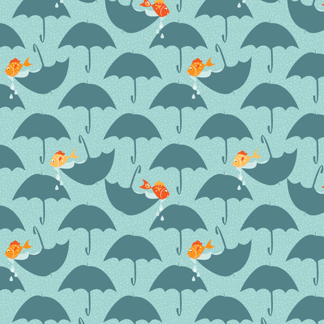 on a rainy day, the fish will play fabric by lynnbishopdesign on Spoonflower - custom fabric