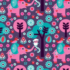 Colorful cute india elephants lemur monkey birds and indian forest zoo illustration print