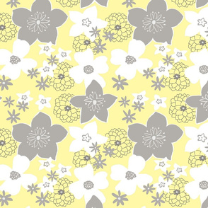 Mod Floral Gray and Yellow 1
