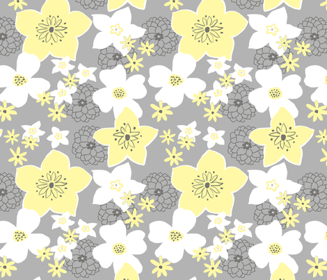 Mod Floral Yellow and Gray 2 fabric by vinpauld on Spoonflower - custom fabric