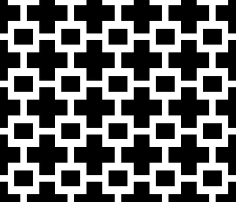 Squared Plus in Black and White fabric by willowlanetextiles on Spoonflower - custom fabric