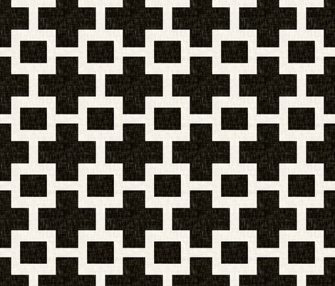 Squared Plus in Black Linen fabric by willowlanetextiles on Spoonflower - custom fabric