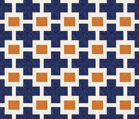 Squared Plus in Navy and Tangerine fabric by willowlanetextiles on Spoonflower - custom fabric