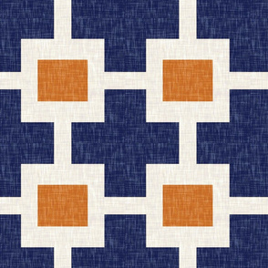 Squared Plus in Navy and Tangerine