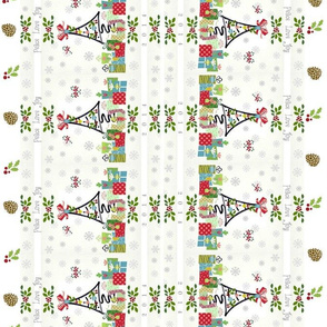 White Christmas PLJ -pinecones Mirror- vertical