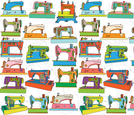 Vintage Sewing Machines fabric by mandalinarossa on Spoonflower - custom fabric