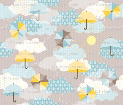 Umbrellas in the clouds