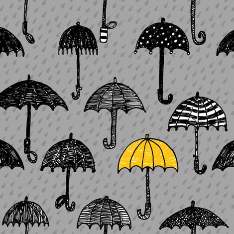 One yellow umbrella fabric by celebrindal on Spoonflower - custom fabric