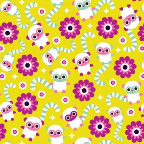 Colorful baby monkey lemurs illustration pattern