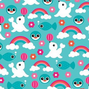 Adorable little seal penguin fish and dolphin rainbow illustration pattern