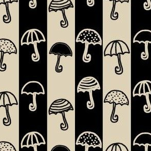 Umbrellas Striped Cream Black