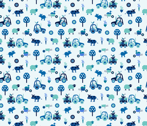 gueth_farm_small_blue fabric by juditgueth on Spoonflower - custom fabric