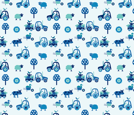 gueth_farm_large_blue fabric by juditgueth on Spoonflower - custom fabric