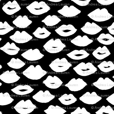 lips // lipstick black and white kisses valentines love girly print