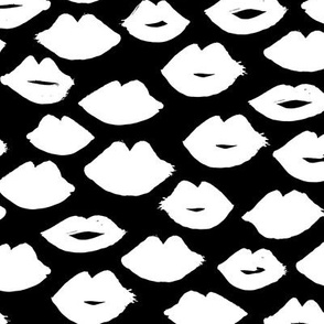 lips // lipstick black and white kisses valentines love girly print