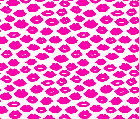lips // lipstick beauty kiss valentines love pink illustration fabric by andrea_lauren on Spoonflower - custom fabric