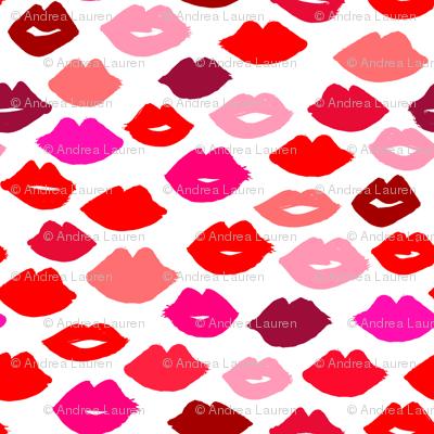 lips // lipstick fashion beauty makeup valentines kiss love fabric illustration pattern for girls