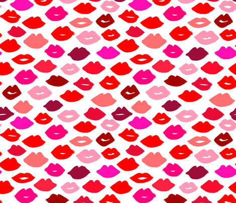 lips // lipstick fashion beauty makeup valentines kiss love fabric illustration pattern for girls fabric by andrea_lauren on Spoonflower - custom fabric