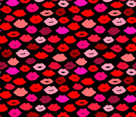lips // lipstick kisses beauty makeup fashion girly illustration print fabric by andrea_lauren on Spoonflower - custom fabric