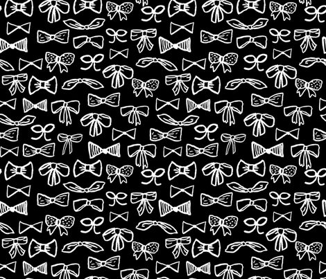 bows // black and white fashion print for cute girls trendy fashion minimal black and white illustration pattern fabric by andrea_lauren on Spoonflower - custom fabric