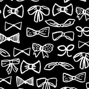 bows // black and white fashion print for cute girls trendy fashion minimal black and white illustration pattern